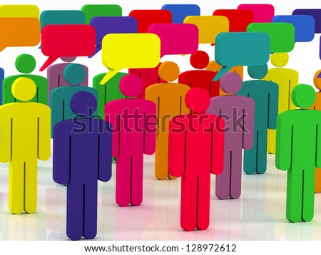 colorful group of people talking in the social network - stock photo