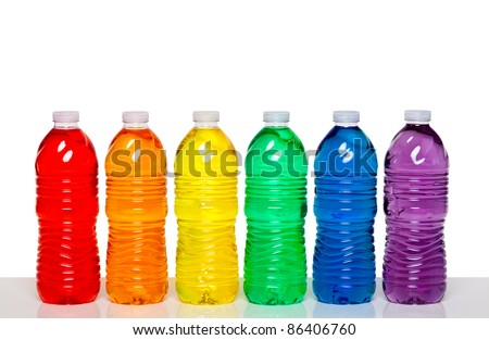 Colorful group of plastic bottles - stock photo