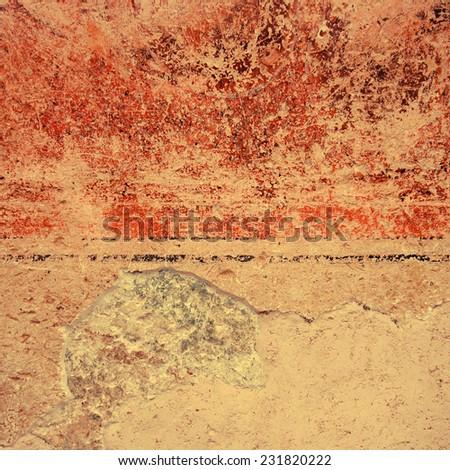 Colorful grunge fresco painted tuscany wall background, square toned image   - stock photo