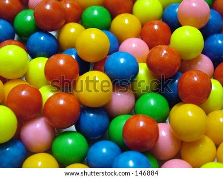 Colorful gumballs, no white - stock photo