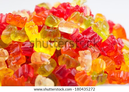 Colorful Gummi Bear candy in a pile - stock photo