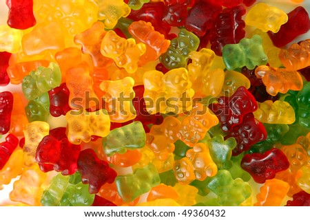 Colorful gummy bears background - stock photo
