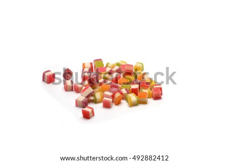 Colorful Gummy Sweeties, Jelly sweet, candy dessert in mini cart isolated on white background