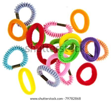 Colorful hair elastic isolated on white background - stock photo