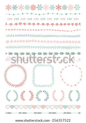 Colorful Hand-Drawn Doodle Seamless Borders and Design Elements. Decorative Flourish Frames, Brackets. Illustration. Clip Art - stock photo