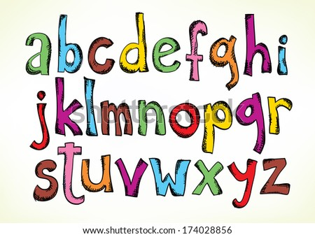 Colorful hand drawn illustration with the full set of the letters of the alphabet in lower case isolated on white - raster version of vector illustration - stock photo