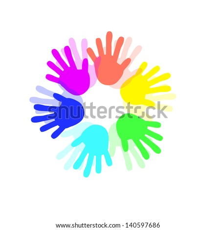 Colorful Hand icon - stock photo