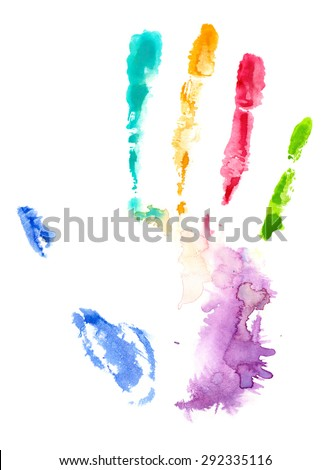 Colorful hand print in watercolor on white isolated background