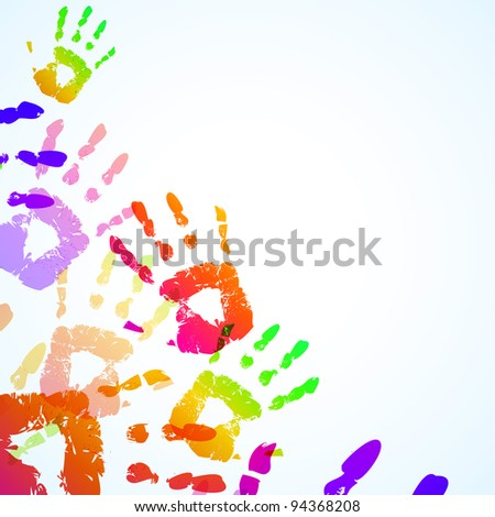 Colorful Hand Prints Background - Vector illustration - stock photo