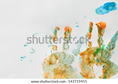 colorful hand prints of toddler kid on white background set of rainbow colored hand prints