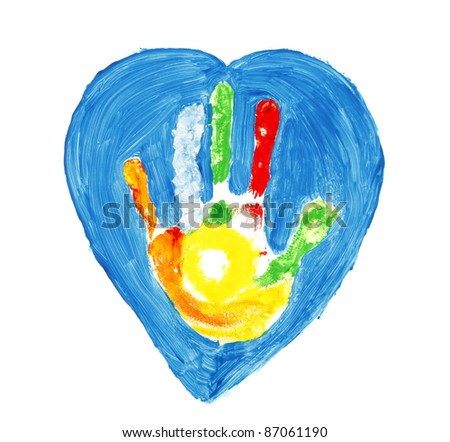 Colorful hand shape inside of a blue heart - stock photo