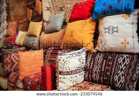 Colorful handmade cushions in Marrakesh, Morocco - stock photo