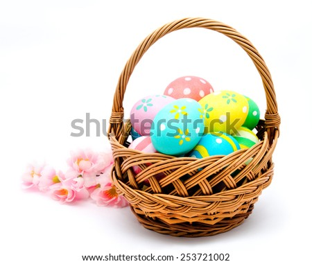 Colorful handmade easter eggs in the basket isolated on a white background - stock photo