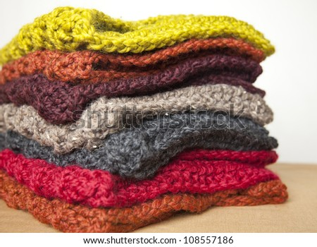 Colorful handmade knitwear - stock photo