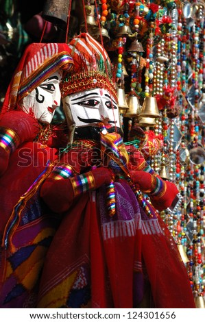 Colorful handmade traditional puppets for sale in Jaisalmer, Rajasthan,India - stock photo
