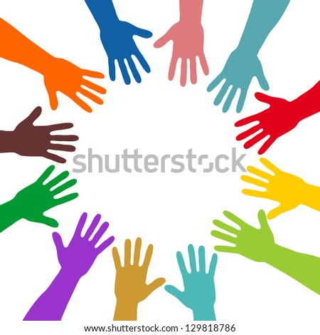 colorful hands forming a circle - stock photo