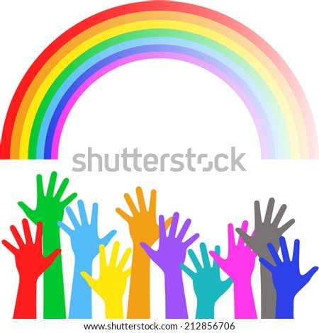 Colorful hands on background of the colorful rainbow - holiday background - stock photo