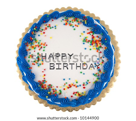 Colorful happy birthday party cake with confetti and blue decorative icing - stock photo