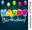 Colorful happy birthday party greeting card. - stock vector