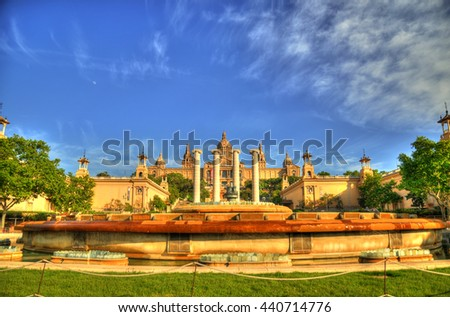 Colorful HDR image of the National Museum in Barcelona,Placa De Espanya,Spain through fisheye lens - stock photo