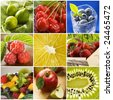 colorful healthy fruit collage made from nine photographs - stock photo