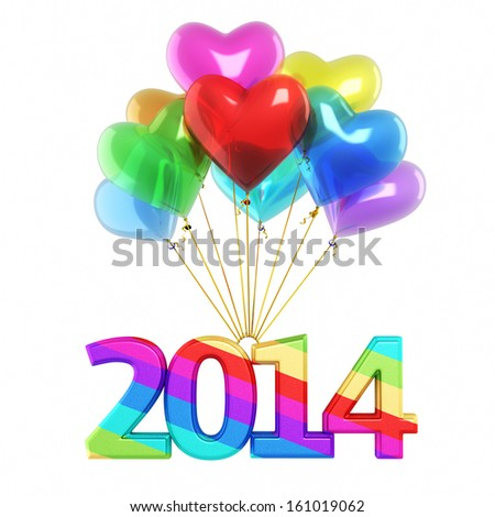 Colorful heart Balloons New Year 2014 (isolated on white and clipping path) - stock photo