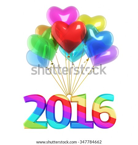 Colorful heart Balloons New Year 2016 (isolated on white and clipping path) - stock photo