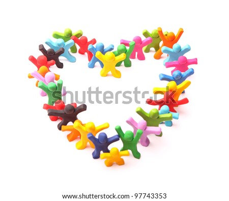 colorful heart shape arranged by lots of different cheerful plasticine people - isolated on white - stock photo