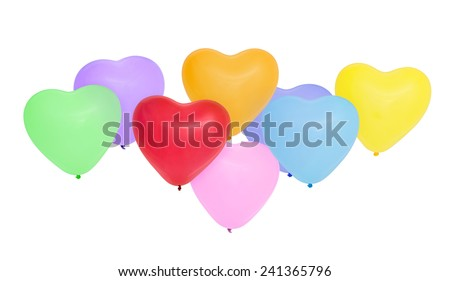 Colorful  heart-shaped balloons. Isolated on white background.