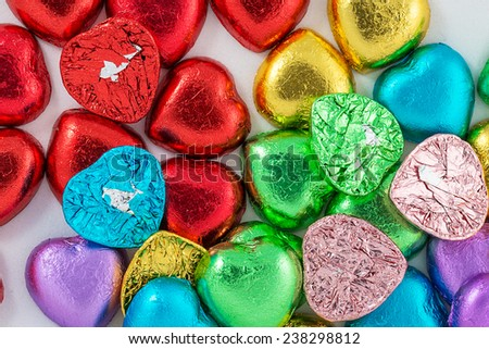 Colorful heart shaped chocolate  - stock photo