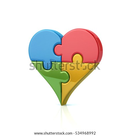 Colorful heart shaped puzzle 3d illustration isolated on white background