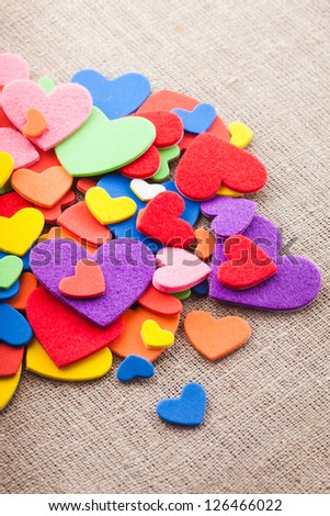 Colorful hearts stickers background. Valentine decorations. Various hearts