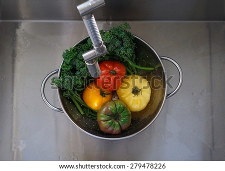 Colorful heirloom tomatoes and broccolini in a sink/washing - stock photo