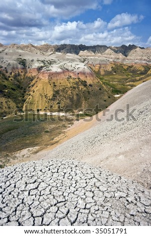 Colorful hills in Badlands National Park. - stock photo