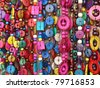 Colorful hippie summer beads. More of this motif & more colors & backgrounds in my port. - stock photo