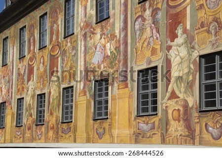 Colorful historical frescos on the wall of the city hall (rathaus) of Bamberg, Germany - stock photo