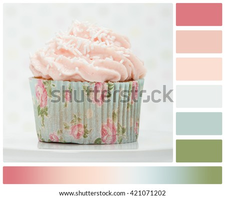 Colorful Homemade Cupcake On White Stand. Copy Space. Palette With Complimentary Colour Swatches - stock photo