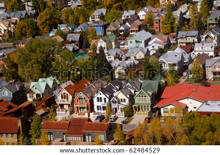 Colorful homes in tourist town Telluride, Colorado - stock photo