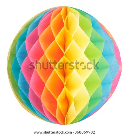 Colorful honeycomb paper ball isolated on white background - stock photo