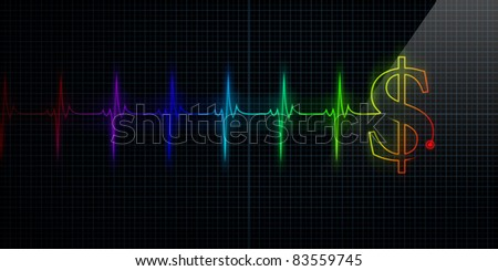 Colorful Horizontal Pulse Trace Heart Monitor with a dollar sign in line. - stock photo