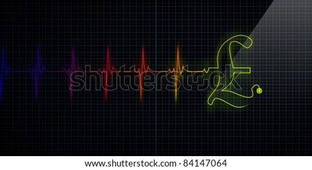Colorful Horizontal Pulse Trace Heart Monitor with a Pound symbol in line. - stock photo