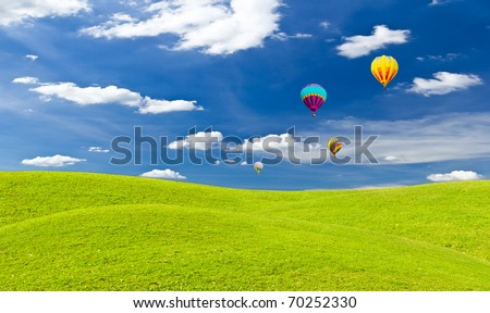 colorful hot air balloon and green grass meadow - stock photo