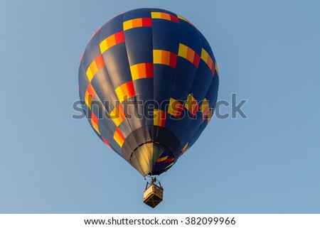 Colorful hot air balloon in the blue sky  in Hungary