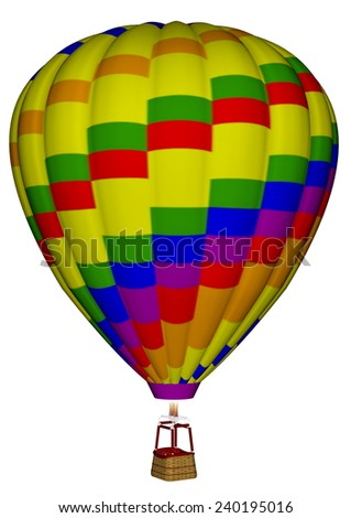 Colorful hot air balloon isolated in white background - 3D render