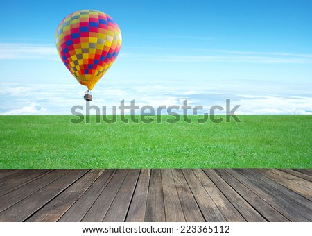 colorful hot air balloon with beautiful blue sky and cloud  - stock photo