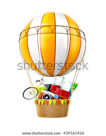 Colorful hot air balloon with passports, tickets, suitcase and bicycle inside a bascket. Unusual travel 3d illustration. Isolated. Travel concept illustration