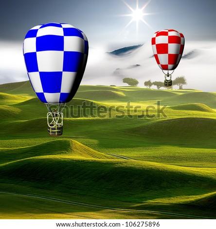 colorful hot air balloons - stock photo