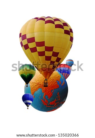 Colorful hot air balloons circling an exotic globe showing the continent of Asia, isolated against white for the concept of outdoor summer festival around the world. - stock photo