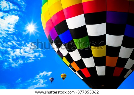 Colorful hot air balloons in the sky - stock photo
