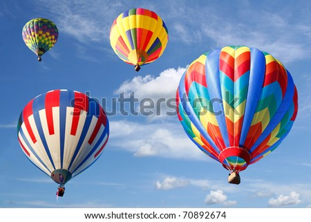 Colorful Hot Air Balloons, Looking UP - stock photo